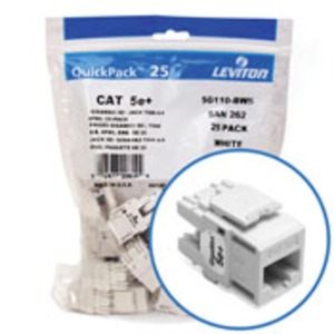 5G110BW5 JACK CAT 5E+ WHITE (25 PK)