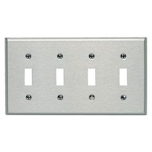 84012 4GANG TOGGLE SWITCH PLATE SS